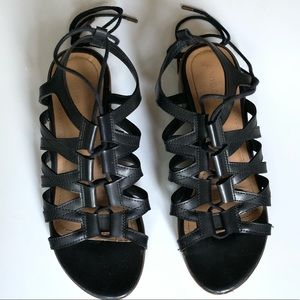 Bamboo Lace Up Black Sandals